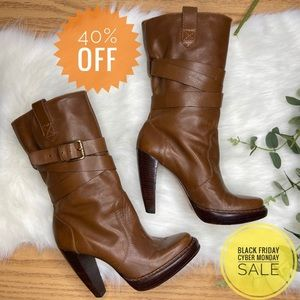 Michael Kors Brown Leather Boots 8.5